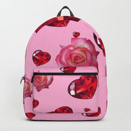 PINK  ART RAINING ROSES RUBY RED VALENTINES HEARTS Backpack