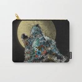 floral animals howling wolf Carry-All Pouch