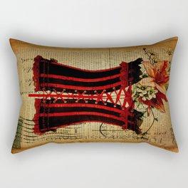elegant girly lily flower newspaper print  black red corset Rectangular Pillow