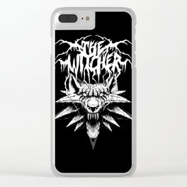 Witcher Black Death Metal Band T-shirt White Wolf logo Clear iPhone Case