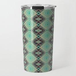 Subway Tracks Kaleidoscope Geometric Pattern - Mint Chocolate Colors Travel Mug