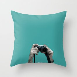 camera above the crowd Throw Pillow