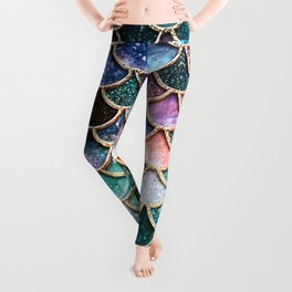 Multicolor Pink And Aqua Mermaid Scales - Beautiful Abstract Glitter Pattern Leggings