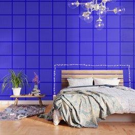 Tiny Paw Prints Pattern - Bright Blue & White Wallpaper