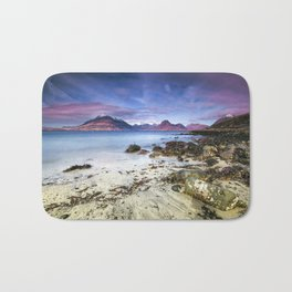 Beach Scene - Mountains, Water, Waves, Rocks - Isle of Skye, UK Bath Mat