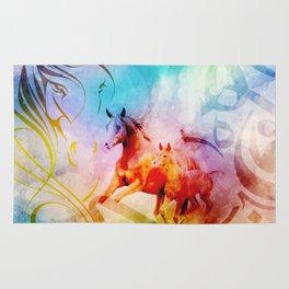 Arabic Calligraphy Horse Art Rug