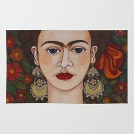 Frida Kahlo with butterflies Rug