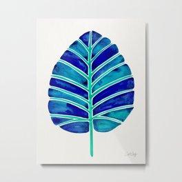 Elephant Ear Alocasia – Blue & Turquoise Palette Metal Print