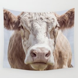 Animal Photography | Cow Portrait Colour | Minimalism | Farm Animals Wall Tapestry