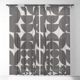 Black & White Mid Century Modern Pattern Sheer Curtain