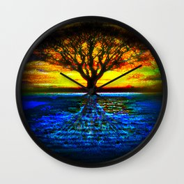 Duality Tree of Life Reflection Moon & Sun Day & Night Painting by CAP Wall Clock