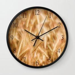 Golden ripe cereal ears grow on field Wall Clock