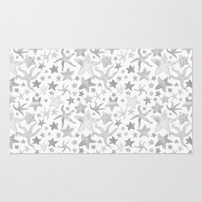 Grey Starfish Pattern - Light Rug