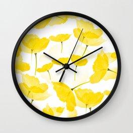 Light Yellow Poppies Spring Summer Mood #decor #society6 #buyart Wall Clock