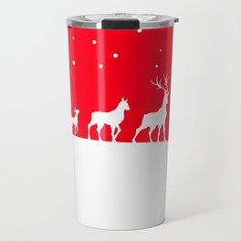 deer family in winter landscape Travel Mug