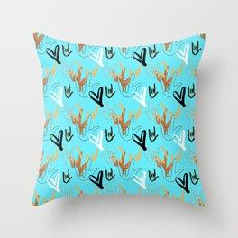 I Love You ILY - Turquoise Throw Pillow