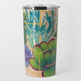 Geometric Terrarium 2 Acrylic on Wood Painting Travel Mug