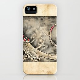 Octopus red square antique iPhone Case