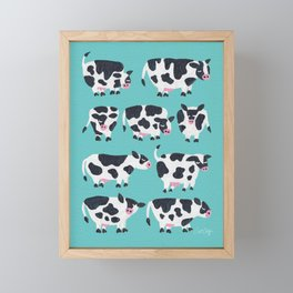 Cow Collection – Turquoise Framed Mini Art Print