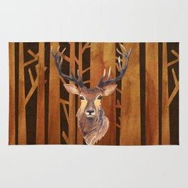 Proud deer in forest 1- Watercolor illustration Rug