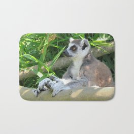 Cute and relaxed Ring-tailed lemur (lemur catta) Bath Mat