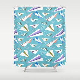 Aeroplanes - Paper Airplanes Pattern Shower Curtain