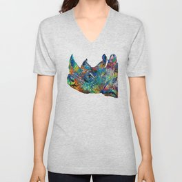 Rhino Rhinoceros Art - Looking Up - By Sharon Cummings Unisex V-Neck