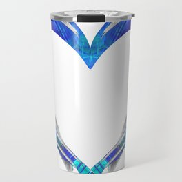 Romantic Abstract Heart Art - Big Blue Love - Sharon Cummings Travel Mug