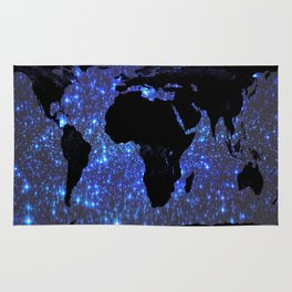 World Map : Blue Galaxy Stars Rug