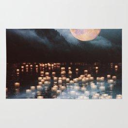 Fantasy lake with moonlight Rug