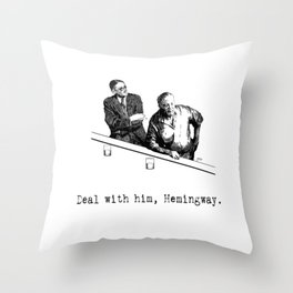 James Joyce x Ernest Hemingway - Drunken Shenanigans Painting Throw Pillow