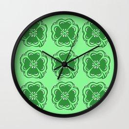 Lucky Clovers Pattern Wall Clock