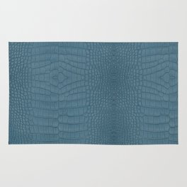 Turquoise Alligator Leather Print Rug