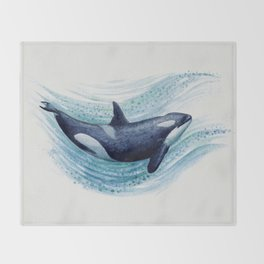 """""""Orca Spash"""" by Amber Marine ~ Watercolor Killer Whale Painting, (Copyright 2016) Throw Blanket"""