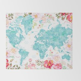 Floral watercolor world map in aquamarine blue Throw Blanket