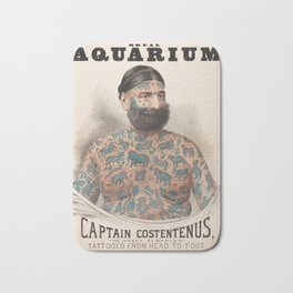 Vintage Tattoo Print of Captain Costentenus Bath Mat