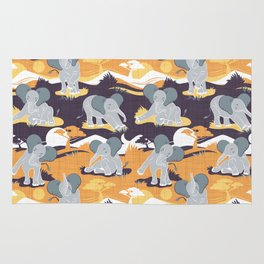 Baby African elephants joy night and day // yellow mustard Rug