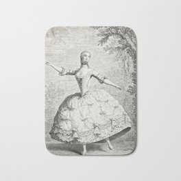 The Dancers, 18th century French ballet woman, black white drawing Bath Mat