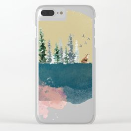 Watercolour forest on the moon Clear iPhone Case