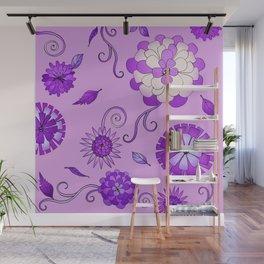 Purple Crazy Daisy pattern Wall Mural
