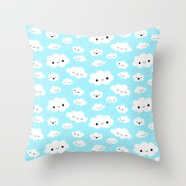 Happy Clouds in the Sky Throw Pillow