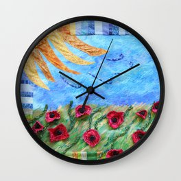 Field of Poppies Quilted Painting Wall Clock