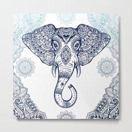Bohemian Elephant Tribal Boho Gradient Blue Metal Print