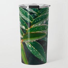 Geometric Wet Leaves Green Plant Travel Mug