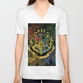 Hogwarts Logo Houses Unisex V-Neck