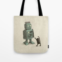 Robot Vs Alien Tote Bag