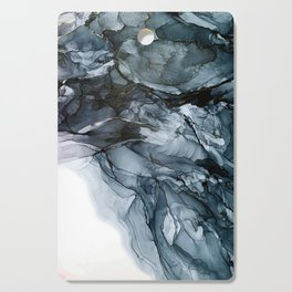 Dark Payne's Grey Flowing Abstract Painting Cutting Board