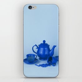 Blue tea party madness - still life iPhone Skin