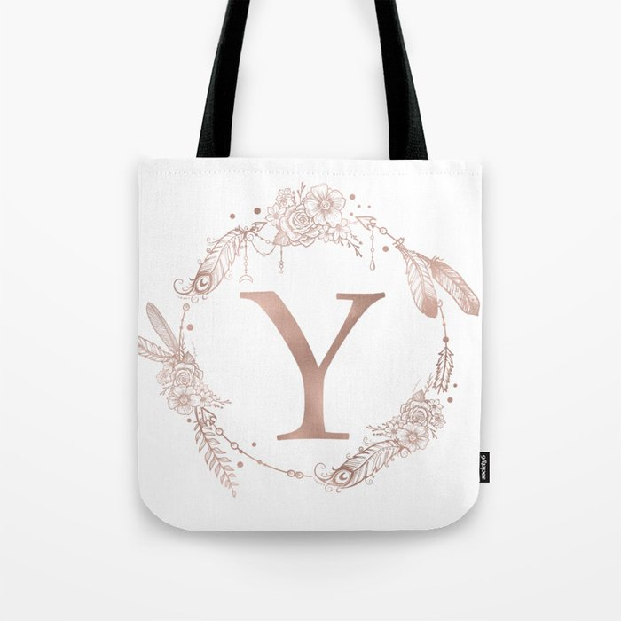 letter y rose gold pink initial monogram tote bag by naturemagick