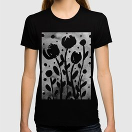 Whimsical watercolor flowers – black and white T-shirt